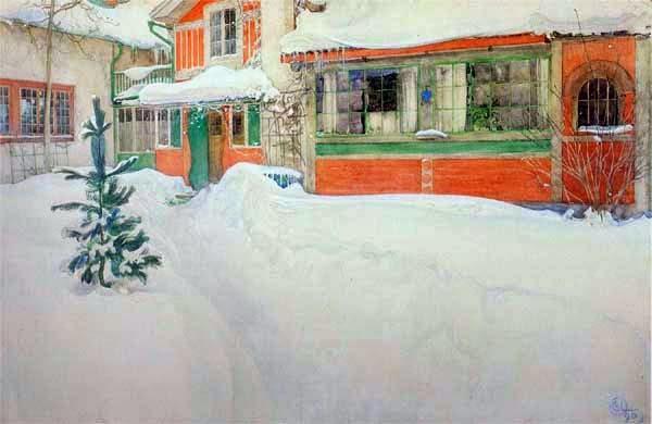 Carl larsson la maison sous la neige